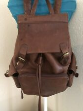 M. London Leather Crafted in USA Tan Brown Leather Backpack Bag Unisex