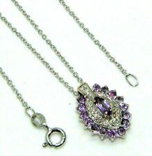Ladies Womens 9ct 9carat White Gold, Diamond & Amethyst Pendant