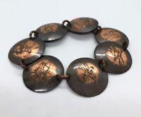 """Vintage Bracelet 8"""" Copper Animals"""