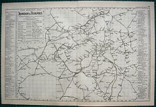 1892 LARGE ANTIQUE MAP-RAILWAY MAP, LONDON & SUBURBS