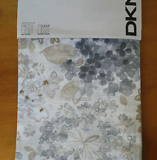 DKNY Floral Fields GRAY BROWN (2) WINDOW PANELS CURTAINS cream 50x96 Tab COTTON