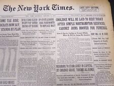 1933 JANUARY 7 NEW YORK TIMES - COOLIDGE WILL BE LAID TO REST TODAY - NT 5188