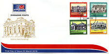 Zimbabwe 2016 FDC Historic Bank Buildings 4v Set Cover Banks Architecture Stamps