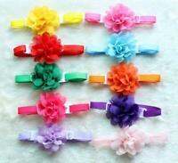 Dog Pet Bow Tie 50pcs Chiffon Flowers Necktie Adjustable Grooming Accessories