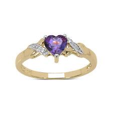 9CT GOLD HEART SHAPED AMETHYST & DIAMOND ENGAGEMENT RING SIZES HIKLMOPRST