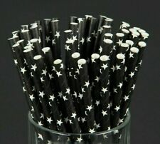 Disposable Black Star Eco Craft Paper Drinking Straws Kids Birthday Party 100pcs