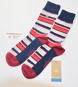 ORIGINAL PENGUIN Mens Navy Red Pink Striped  Socks > One Size UK 7-11 EU 41-46