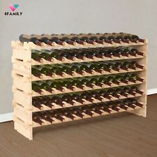 72 Bottles Holder Wine Rack Stackable Storage 6 Tier Solid Wood Display Shelves