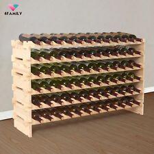 72 Bottles Holder Wine Rack Stackable Storage 6 Tier Solid Wood Display Shelves