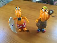 2 Vintage Kraft T-Rex Macaroni Cheese Figures from Kraft General Foods 91 EUC