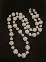 Vintage White Gold Tone Textured Round Bead Long Acrylic Necklace