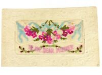 Antique Silk Embroidered 1918 Post Card To My Dear Mother , Flowers Ribbons