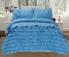 3 Piece Pleated Ruffled Soft Comforter Set w/ Pillow Shams All Sizes Bedding