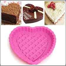 "8"" Lace Heart-shaped Cake Baking  Pan Silicone Pudding Chocolate Mold Cupcake"