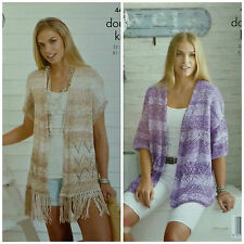 Knitting Pattern Donna Lungo Giacca e Gilet con Frange DK King Cole 4457