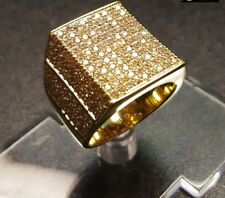 0.81 Ct Round Simulated Diamond Micro Pave Set Men's Ring 14k Yellow Gold Plated