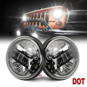 "Newest Black 2pc 7""Round Led Halo Headlight Angel Eye for Jeep Wrangler TJ LJ JK"