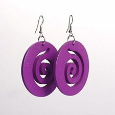 Purple Spiral Cut Out Design Wooden Hoop Drop Carved Round Spiral Earrings