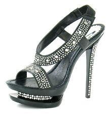 Ladies Spot on Heeled Diamante Sandals F10045 Black Satin 7 UK Standard