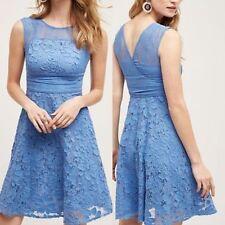 ANTHROPOLOGIE Moulinette Soeurs NWT Liliflora Dress Blue Lace Sz 12 L Large $178