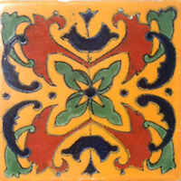 9 MEXICAN TILES CERAMIC HAND MADE SPANISH INFLUENCE TALAVERA MOSAIC ART C#021