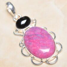 "Handmade Cherry Ruby Natural Gemstone 925 Sterling Silver Pendant 2.25"" #P03286"