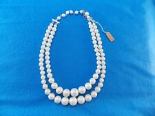 Vintage 2 Strand Graduated Faux Imitation Pearl Bead Necklace Made in Japan NEW