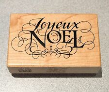 Holiday Joyeux Noel Christmas Script Rubber Stamp PSX 1995 3.5 inch  x 3.25