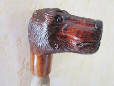 poignée de canne/parapluie -animal en bois sculpté main polychrome -ours