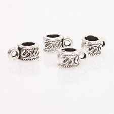 100x Silver Tone Letter S Printed Zinc Alloy Charms Bead For European Bracelet D
