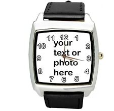 YOUR CUSTOM TEXT PHOTO WATCH Quartz Stainless Steel BLACK LEATHER SQUARE WATCH