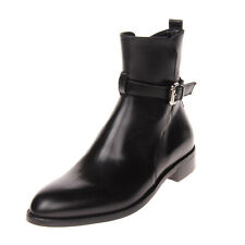RRP €240 VIETTI Leather Ankle Boots Size 36 UK 3 US 6 Buckle Strap Stacked Heel