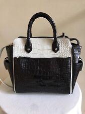 Custom-Made Genuine Alligator Tote Handbag, Black and White, Made in the USA