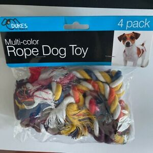 "MULTI-COLOR SET of 4 DOG ROPE TOYS ~ 6"" Long ~ For Small Dogs ~ NEW"