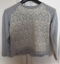 GIRLS MAYORAL GREY SWEATSHIRT WITH CREAM LACE & CRYSTAL AND PEARL FINISH AGE 12
