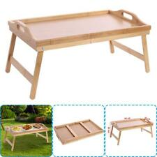 Wooden Lap Tray Breakfast in Bed Serving with Folding Legs Table Mate Wipe #T1K