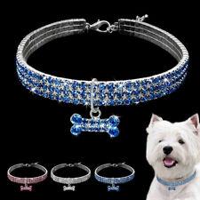 Bling Rhinestone Dog Necklace Bling Collar Bone Pendant Collar for Cat Girl Pet