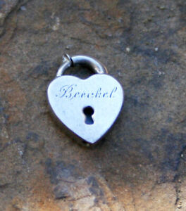 VINTAGE STERLING SILVER HEART PADLOCK - Plain with Decorative Keyhole &Engraving