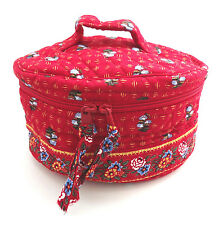 Vera Bradley PROVINCIAL RED Round Cosmetic Jewelry Bag Toiletries Case Retired