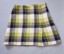 Hobbs skirt navy and green wool check tartan short Length A line pleat UK 12