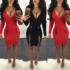 UK Womens Bandage Bodycon Long Sleeve Evening Party Cocktail Mini Dress Black M UK 10