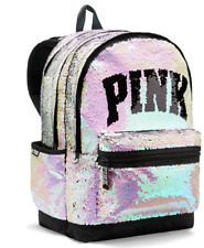 VICTORIA'S SECRET PINK IRIDESCENT SILVER SEQUIN CAMPUS BACKPACK BLING NEW 2018