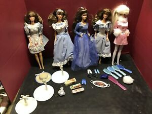 Barbie Doll Lot Of 5 With Some Accessories And Stands