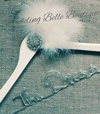 Stunning Feather & Brooch Wedding Bridal Hanger Any Name Bridesmaid ❤