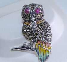 GENUINE! 0.52cts! African Ruby, Marcasite, Enamel Owl Brooch Solid S/Silver 925.
