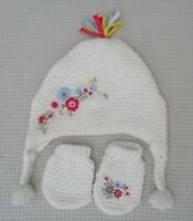 MAMAS & PAPAS Baby Girl Ivory Knitted Hat & Mittens Embroidery Flowers 3-6months