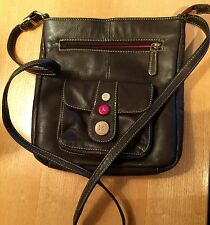 "PRELOVED BROWN  LEATHER MESSENGER BAG 9 1/2"" X 8 1/2"" X 1 1/2"""