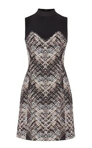 Karen Millen multi-coloured black Plaid Dress UK Size 10
