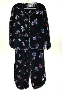 Tienda Ho Free Size Two Piece Set L/S Top/Pants 100% Rayon Black Floral Pockets