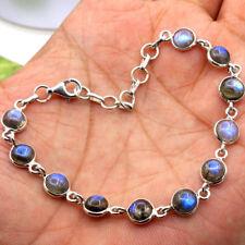 "Natural Chatoyant Blue Labradorite Gemstone 925 Sterling Silver Bracelet 7.75"""